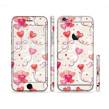 The Pink, Red and Tan Heart Balloon Pattern Sectioned Skin Series for the Apple iPhone 6