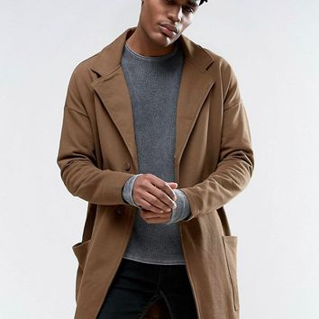 ASOS Jersey Duster Coat In Khaki at asos.com