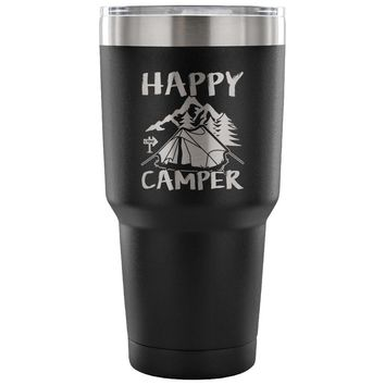 Camping Travel Mug Happy Camper 30 oz Stainless Steel Tumbler