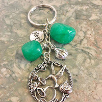 Pretty Green Jade Crystals, Sweet Hummingbird Flower Charm, Cute Ladybug, HOPE Keyring / Keychain Abundance and Good Luck Charms