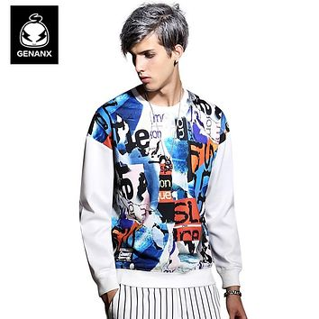 Long-Sleeved Hip-Hop Printed Sweatshirts Men'S Autumn Japanese Harajuku White Round Neck Loose Hoody Men Casual