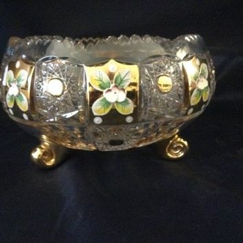 Czech bohemia cut crystal glass - Cut bowl 24cm decorated  gold