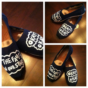 okay okay TFIOS Inspired The Fault In Our Stars Custom Handpainted Painted Toms Shoes