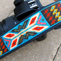 "Funky Camera Straps for Canon Nikon Olympus style dslr's--""Spirit of the West"" in faux tapestry"