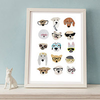 Dogs With Glasses Print