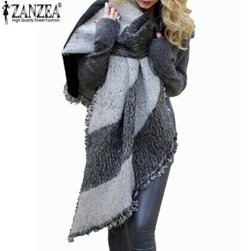 ESBU3C Zanzea 2016 Winter Zanzea Fashion Women Blanket Scarf Female Cashmere Pashmina Wool Scarf Shawl Warm Thick Scarves Cape Wraps