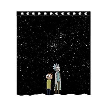 "Rick And Morty Custom Fashion European Style Home Decoration Waterproof Polyester Fabric Shower Curtain 66 ""x 72"""