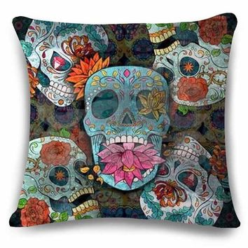 Hand Painted Linens Cotton Halloween Sugar Skull Pillow Cover Vintage Home Decor For Sofa Car Color Cushion Cover Bedding e1262 - Linen Cotton, 45x45cm No16 Cover