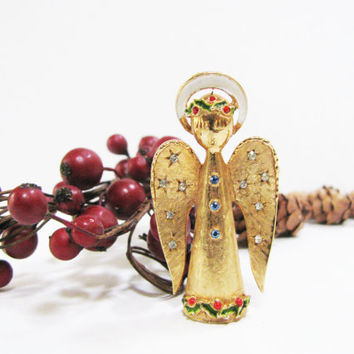 Christmas Angel Pin - Vintage Signed ART Christmas Brooch - Gold Tone with Rhinestones and Enamel - Christmas Gift