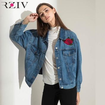 Trendy RZIV 2018 women jeans jacket solid color casual jacket embroidered denim jacket Crane AT_94_13