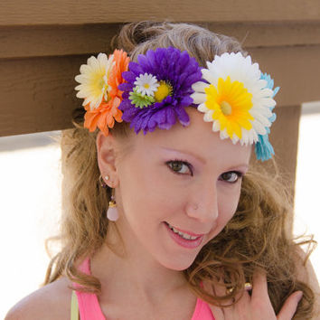 Large Daisy Flower Crown, Flower Headband, Electric Daisy Carnival, Burning Man Clothing, Lollapalooza, Electric Forest Festival, Bonnaroo