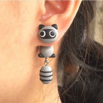 3D Cute Raccoon Fimo Clay Ear Cuff (Single)
