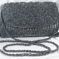 """Stunning Charcoal Gray Evening Bag - Hand-Beaded, Shoulder Strap, Schmidty, """"New Old Stock"""""""