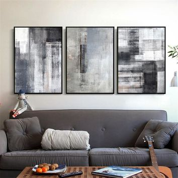 Nordic Canvas Painting Wall Art Home Decor Abstract Black White Color Block Print Living Room Picture Poster Backdrop Minimalis