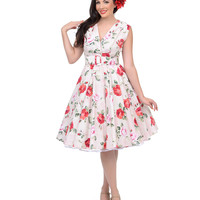 Roses Are Red 1950s Style Haute Milan Swing Dress