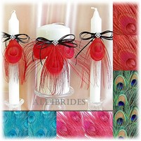 Red Peacock Feather Wedding Unity Candle Set or custom color feathers