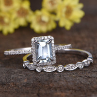 1 Carat Emerald Cut Aquamarine Wedding Ring Set Diamond Matching Band 14k White Gold Art Deco Milgrain Bridal