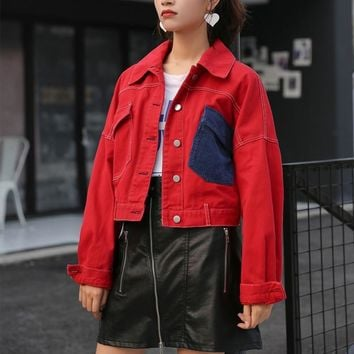 Trendy Cheerart Cropped Red Jacket Women Color Block Short Denim Jacket Autumn 2018 Jeans Jacket Femme Trending Products AT_94_13