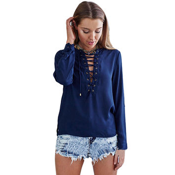 Sexy Lace up V NECK Bandage Hollow Out blouse shirt Long sleeve casual blusas Cross chic feminine blouse women tops cool girl u2