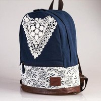 New Fashion Triangle Lace Backpack-Navy Blue from ChicCasesAndHomeProducts