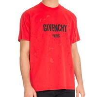Givenchy Columbian-Fit Distressed Logo T-Shirt, Red