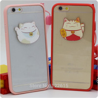 For iphone 6 Case 5 Case 5s Cover 6 plus Silicon Acrylic Plastic Phone Cases Candy Lanyard Fortune Cat Lucky Cat Free Shipping