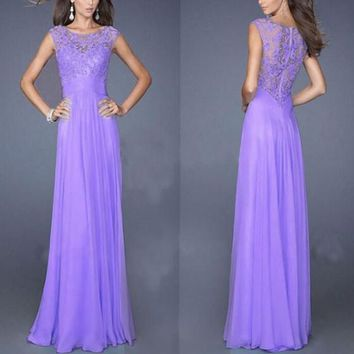 Violet Patchwork Lace Zipper Draped Round Neck Sleeveless Maxi Dress