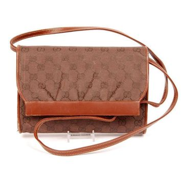 Gucci 4723 Vintage Brown Cross Body Bag (Authentic Pre-owned)