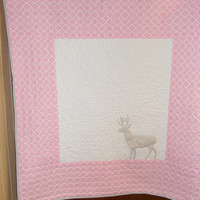 Woodland deer baby girl crib quilt - Rustic baby girl bedding - Pink gray nursery - Blanket