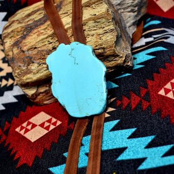 Turquoise Slab Bolo Thick Leather Necklace