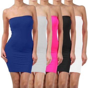 Women's Summer Sleeveless Backless Sexy Slim  Dress Elastic Tight Body-con Basic Dress Tanks Vest ladies Dress Strap Party Dress