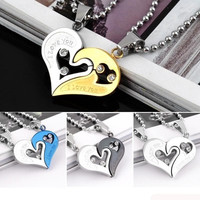 His and Hers Stainless Steel I Love You Heart Men Women Couple Pendant Necklaces = 1930281284