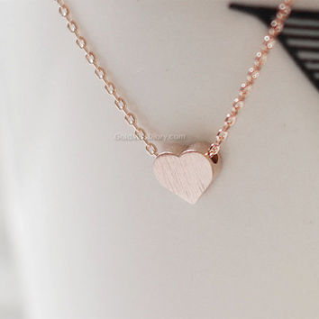 Rose Gold brushed Heart necklace,Tiny hearts necklaces, Rose Gold hearts on Rose Gold chain...daint, simple, birthday, wedding, bridesmaid