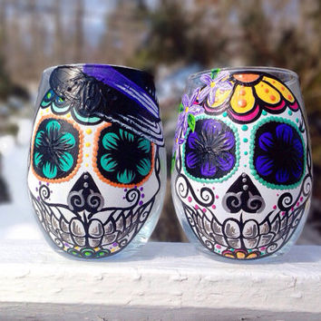 Hand painted sugar skull couple stemless wine glasses (set of 2)