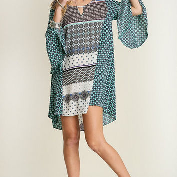 Mixed Pattern Mint Boho Dress - Ships Tuesday May 10