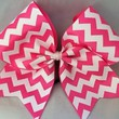 Cheer Bow Cheerbow Ribbon Bows Lime Bubblegum Pink And White Chevron