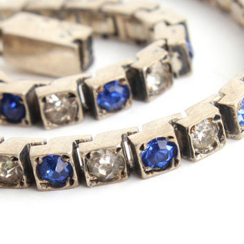 Antique Art Deco Tennis Bracelet - Sterling Silver 1930s Clear & Blue Glass Stone Vintage Jewelry / Sapphire Blue, Faux Diamond Rhinestones