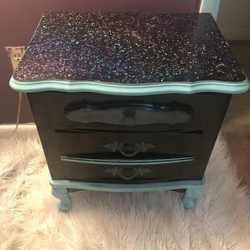 Holographic black end table