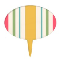 Modern Abstract Colorful Strips Oval Cake Pick