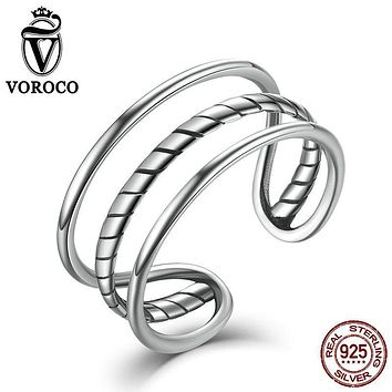 VOROCO Trendy Minimalist Real 100% 925 Sterling Silver Simple Triple Cuff Band Open Adjustable Ring Women Fine Jewelry VSR007