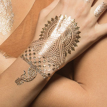 Metallic Gold Bronze Silver Henna w/ Hamsa Flower Designs Temporary Tattoo (1 Sheet) - Indian Princess