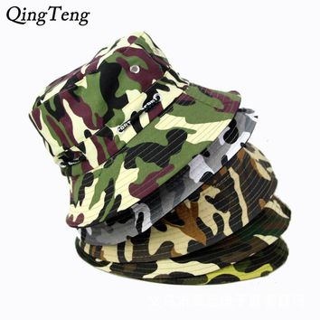 Camo Bucket Hats New Men Outdoor Military Boonie Fisherman Hat Cotton Easy Fishing Cap Polo Bucket Caps Bob Chapeau Crocodile