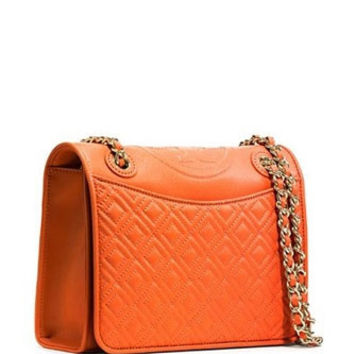 Tory Burch Fleming Leather Medium Chain Shoulder Bag
