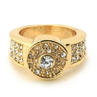 Hip Hop Fashion Iced Out Solid Lauv Gold Plated Ring Bk003g