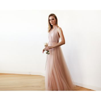 Blush Pink Halter and Tulle Maxi Gown 1121