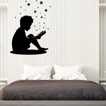 Wall Vinyl Decal Little Boy Reading a Book Home Interior Decor Unique Gift z4687