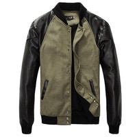Snap Button Contrast PU Leather Sleeve Varsity Jacket