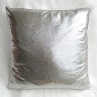 Modern Chic Distressed Silver Pillow Cover. Silver Distressed Cushion Cover. Bling. Decorative Sparkly Pillow
