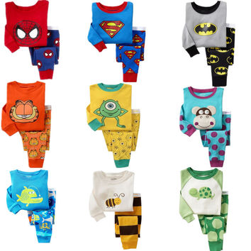 Children pajamas set kids baby girl boys Cartoon Casual pijamas infantil kids Spiderman BatMan Pyjamas Sleepwear