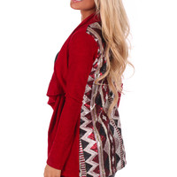 Burgundy Knit Cardigan with Sequin Patterned Back